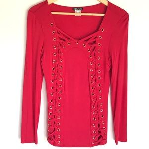 NWOT Red Top Lace Up Corset Long Sleeve Small